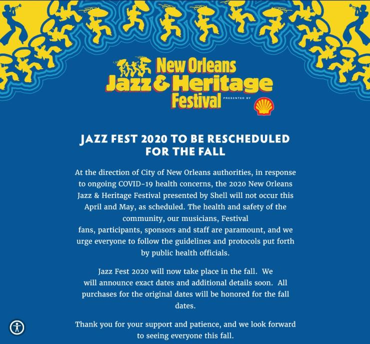New Orleans Jazz & Heritage Festival Rescheduled
