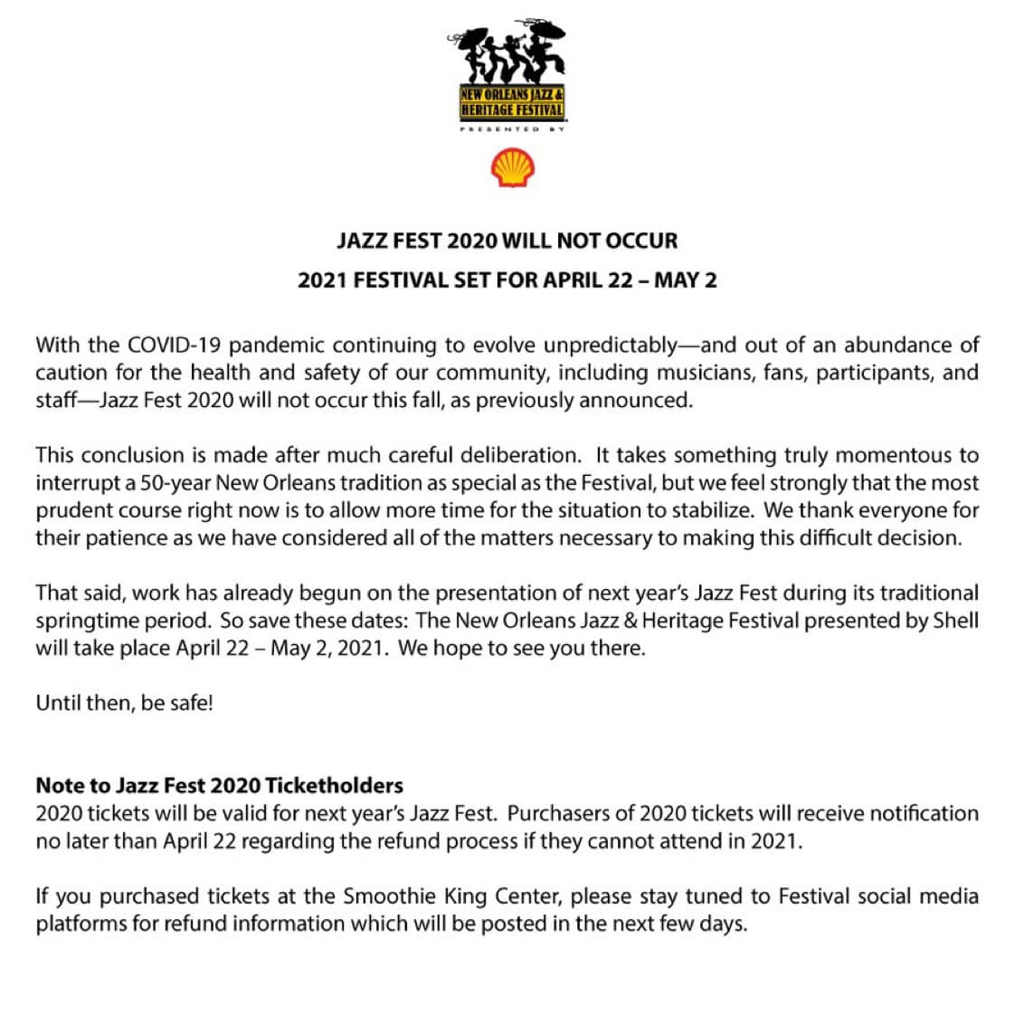 Letter cancelling 2020 Jazz Fest