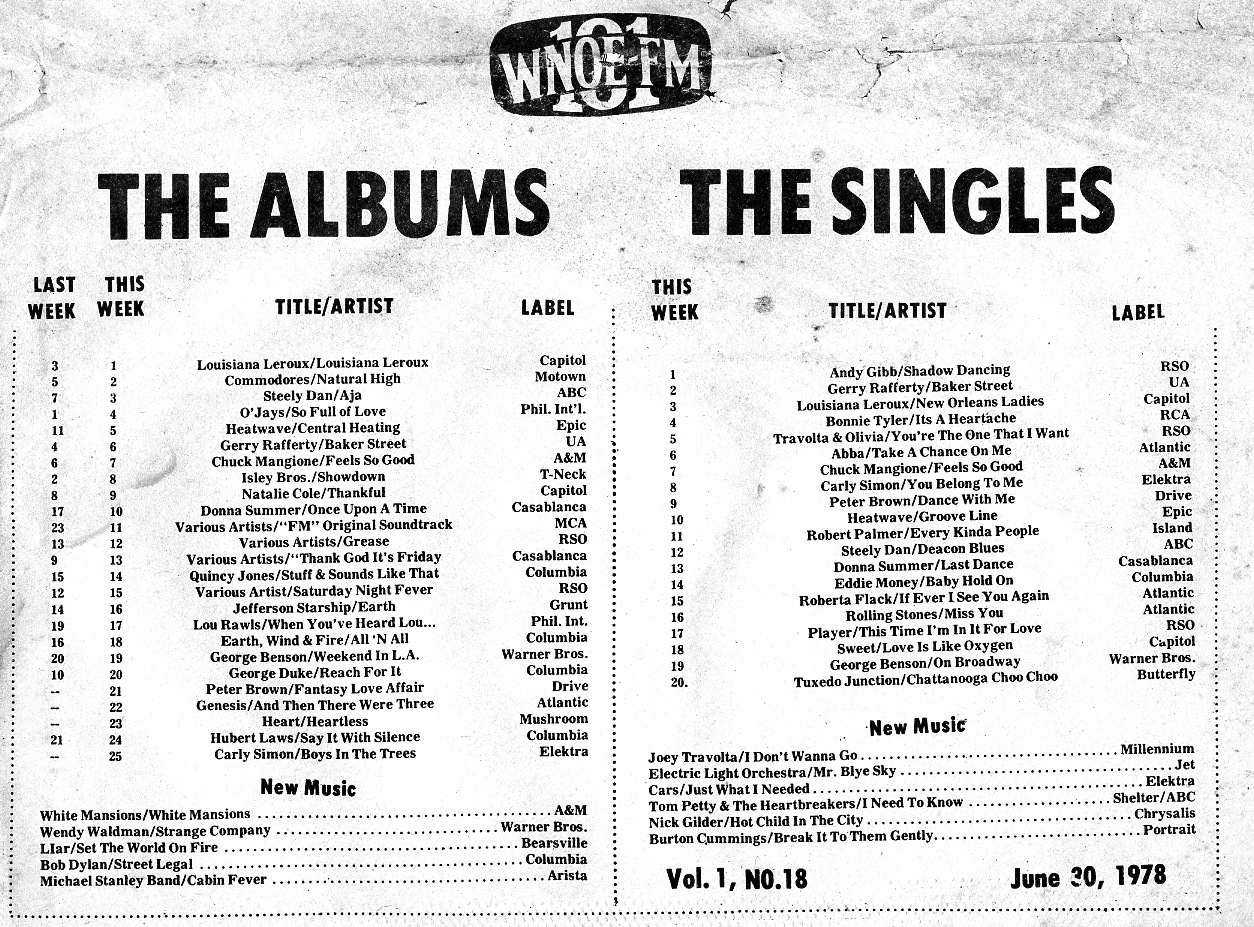 The Albums and Singles Charts for June 30, 1978