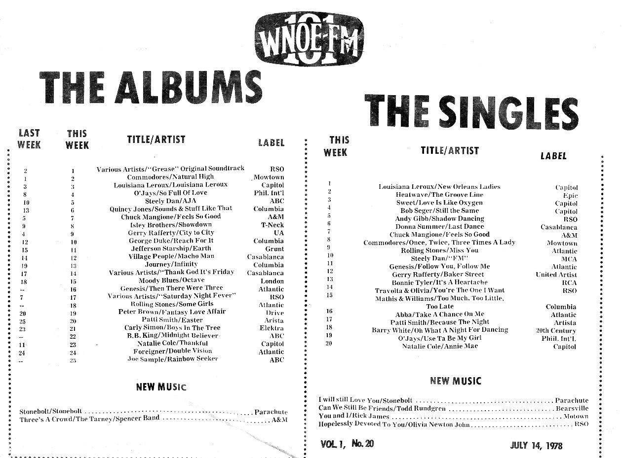 The Albums and Singles Charts for July 14, 1978