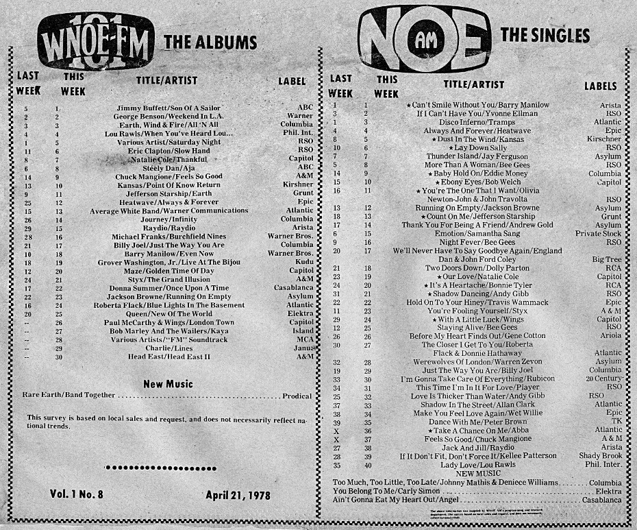 WNOE-FM Music Charts for April 21, 1978